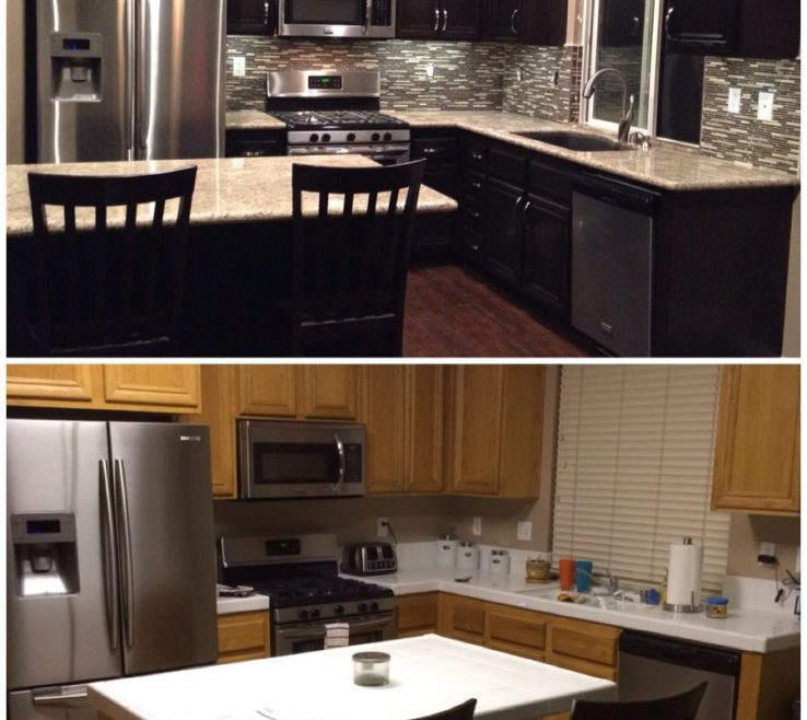 Adorable Dark Kitchen S Of Upgraded Kitchen. Espresso Stained S. Added Hardware.