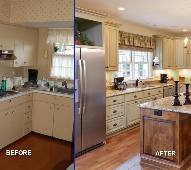 Adorable Kitchen Renovation Before And After Of Cheap Remodel Decorating Ideas