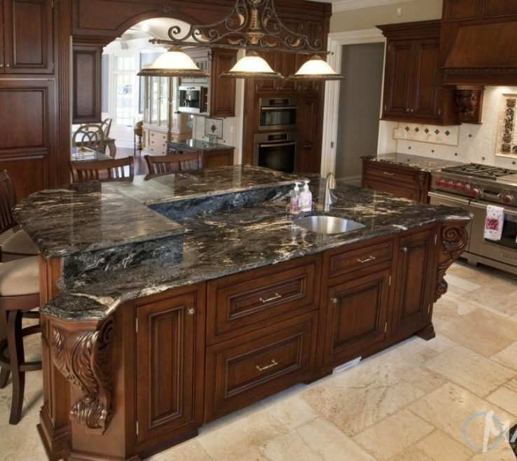 Alluring Dark Kitchen S Of Cosmic Black Granite