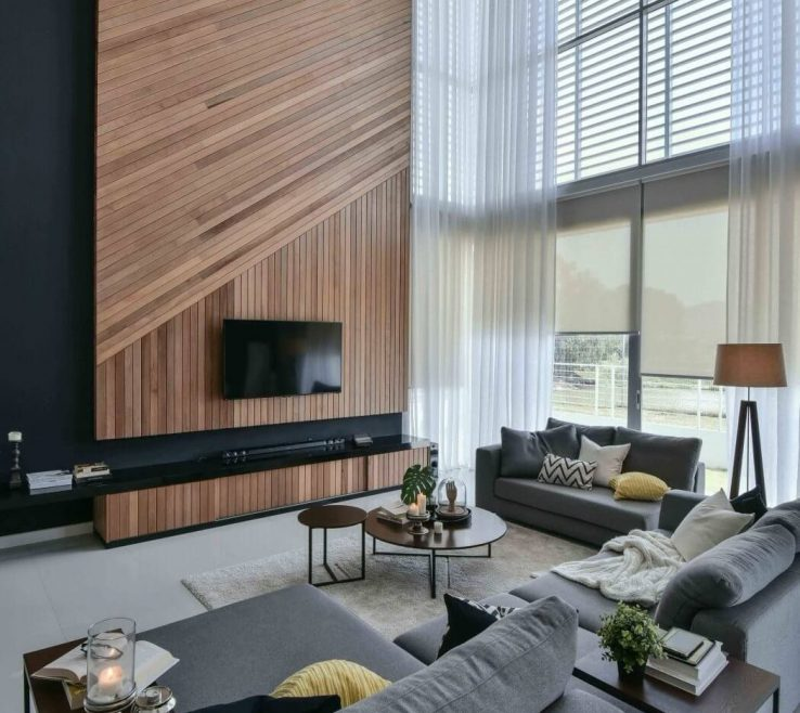 Amazing High Ceiling Living Room Of I Can Imagine A Fireplace Instead A