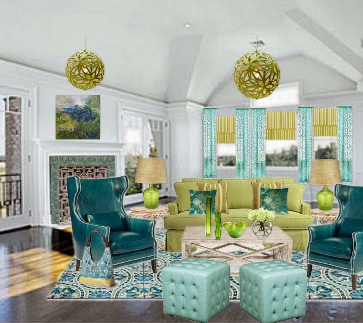 Artistic Blue And Green Living Room Of Stunning Furniture Stunning