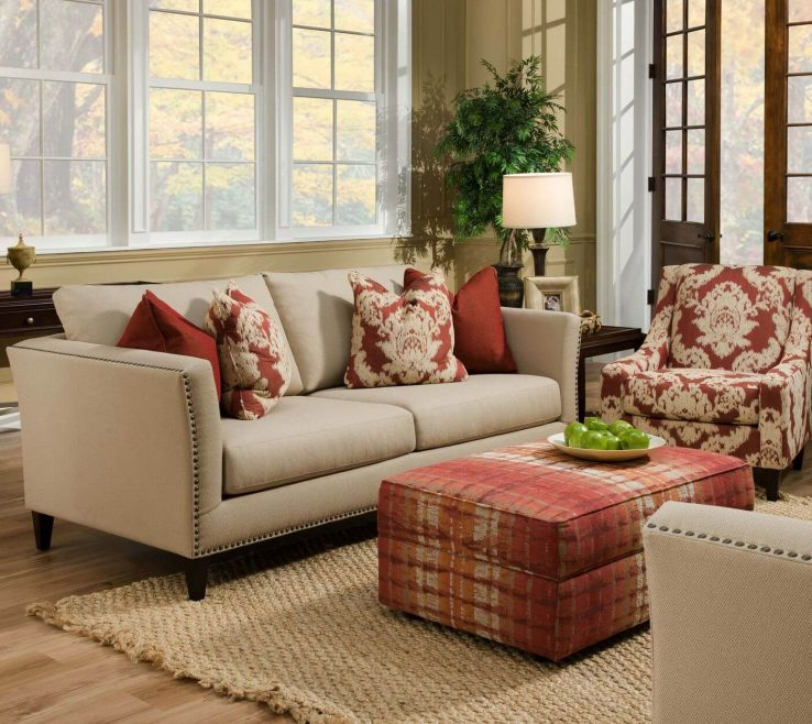 Artistic Ottoman Ideas For Living Room Of Beige Twin Couches Face Each Other Over
