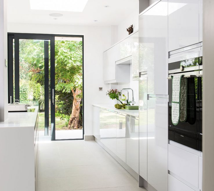 Artistic What Is A Galley Kitchen Of White Gloss Units Huge Open Plan