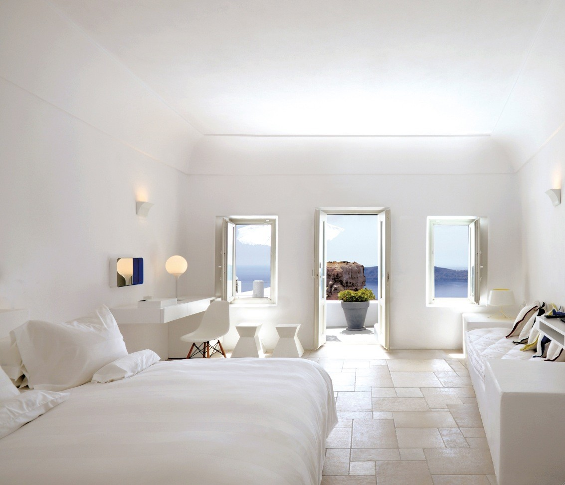 Astonishing All White Bedroom Of Santorini Large With ...
