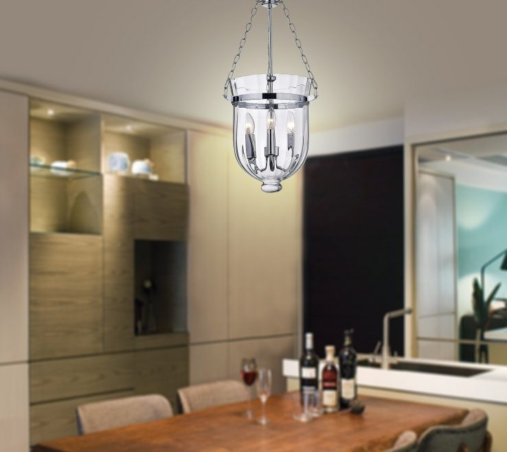 Astonishing Lantern Chandelier Dining Room Of Shop Chrome Finish Ribbed Glass Free