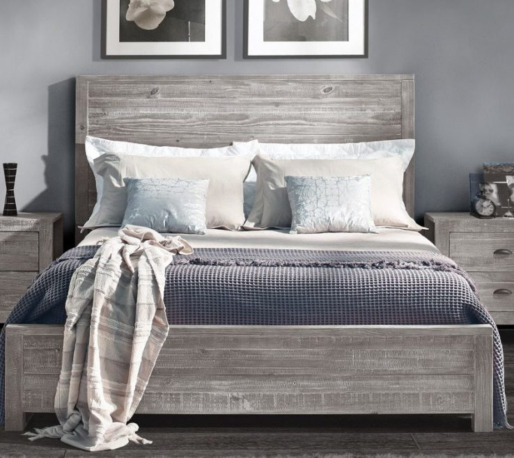 Astounding Best Bedroom Of Grey Wooden Bed Frame With Grey Bedding