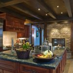 Attractive Black Marble Kitchen S Of Rustic Look Features Brick Pass Through Fireplace Under