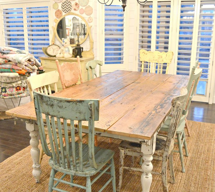 Attractive Dining Table With Different Chairs Of Sweet Pickins Farm Farm Diy, Rustic