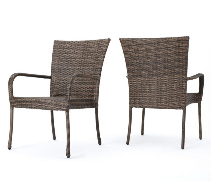 Attractive Mixed Dining Chairs Of Noble E Littleton Mocha Stackable Wicker Outdoor
