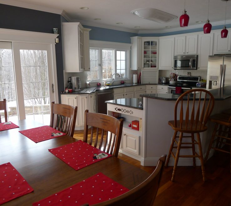 Attractive Red Kitchens Of Blue & Gray Kitchen With Accents