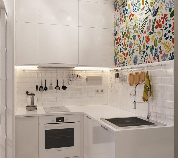 Attractive Very Small Kitchen Design Of Injecting Color Into A Tiny White Space