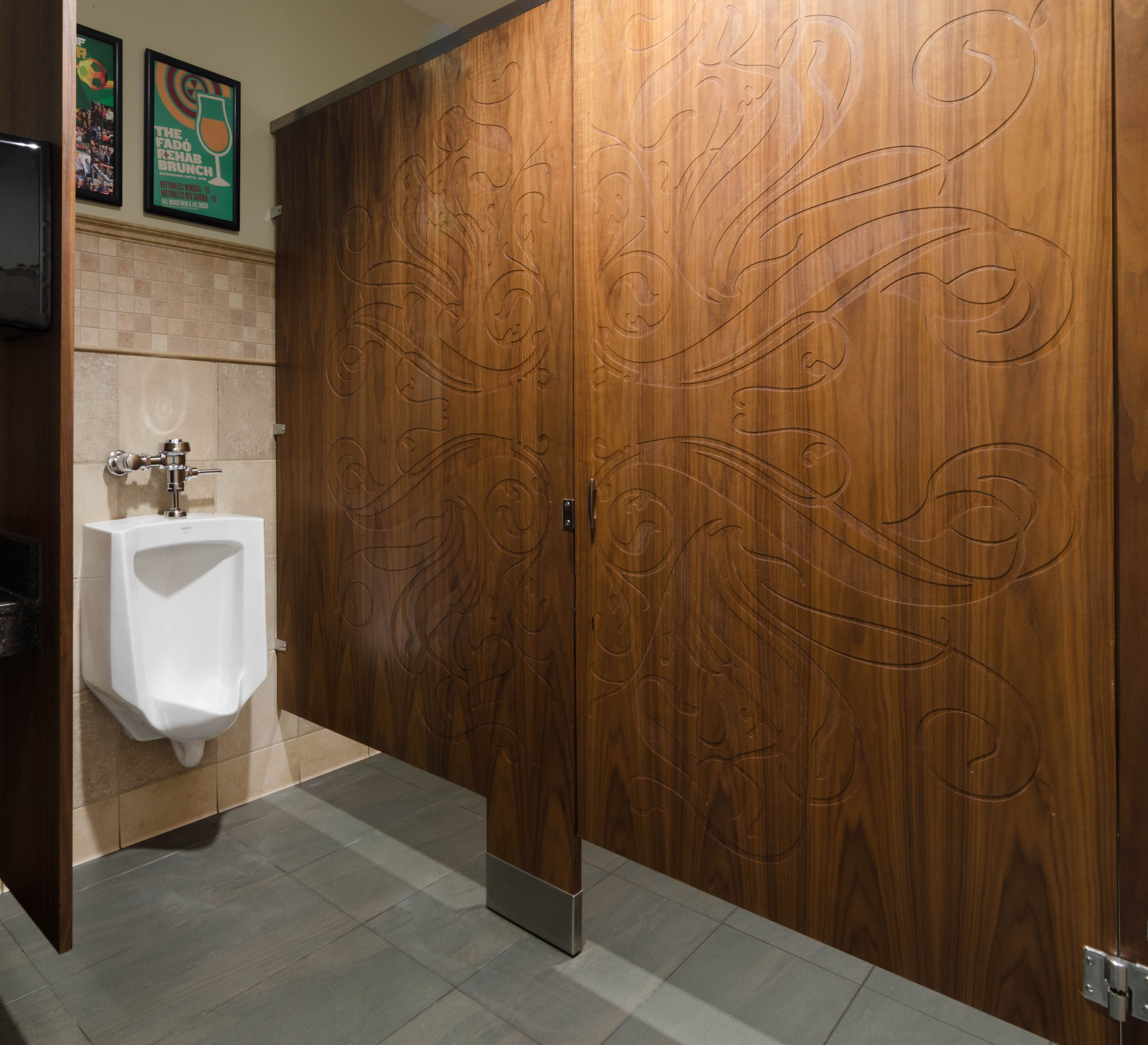 Awesome Bathroom Partition Walls Of Ironwood Manufacturing Wood Veneer Toilet And Engraved