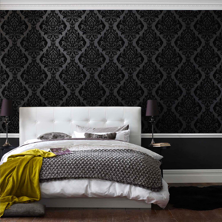 Awesome Bedroom Feature Wall Of How To Wallpaper A - ACNN DECOR