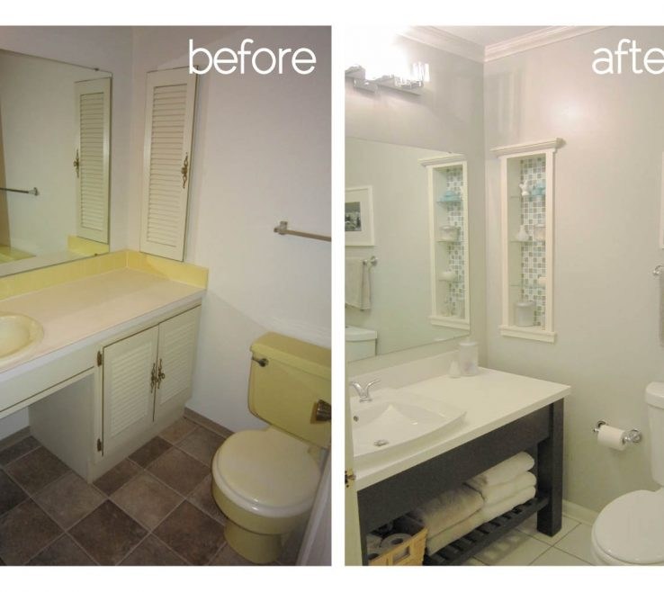 Bathroom Before And After Of Simple Remodel