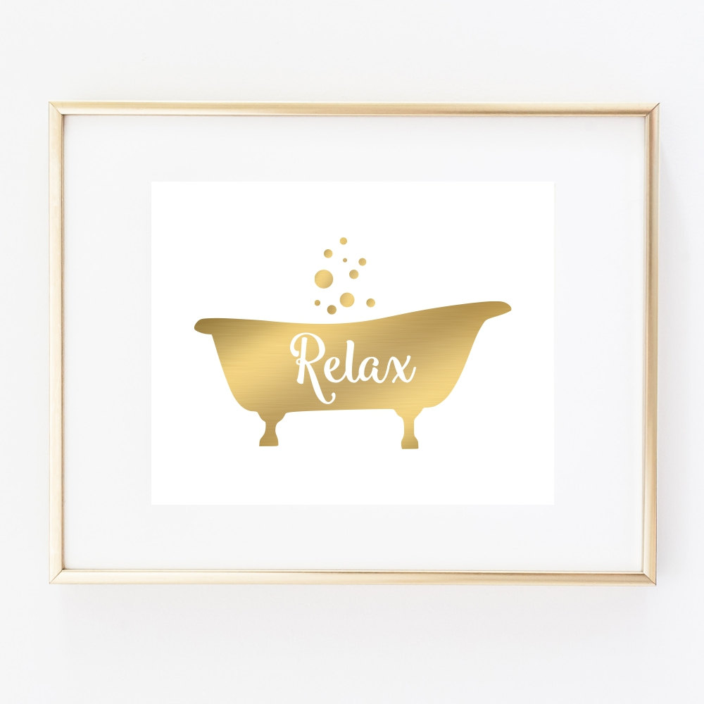 Attractive Bathroom Prints For Wall Of Bathtub Art Print Decor Relax Faux Gold