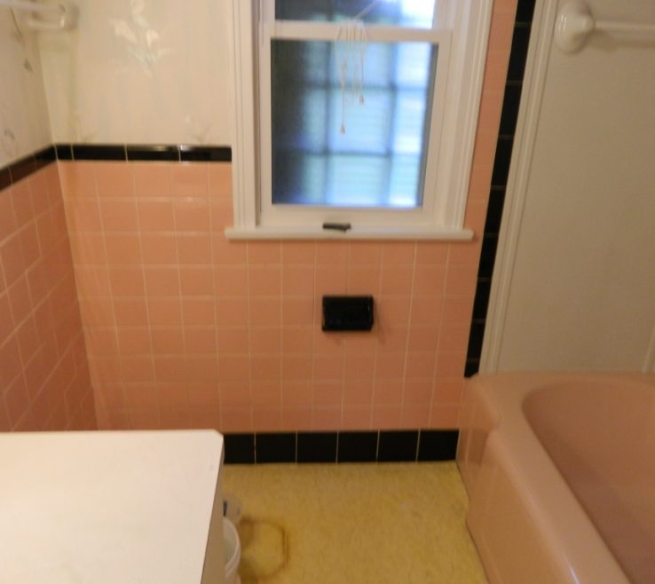 Bathroom Tile Refinishing Of Pink Before Reglazing Bathtub Walls And Surround