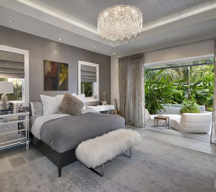 Beautiful Grey Master Bedroom Of Custom Floor