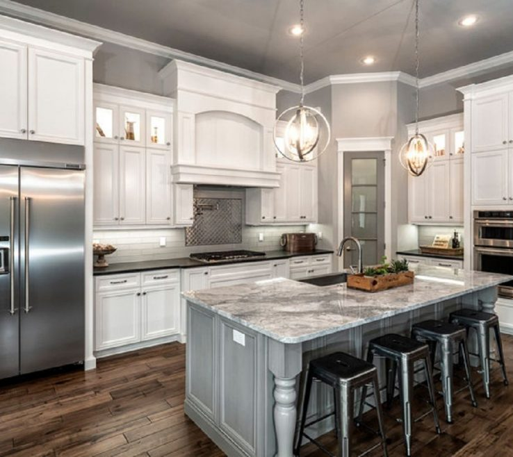 Beautiful Kitchen Remodels With White S Of Classic L Shaped Remodel And Gray