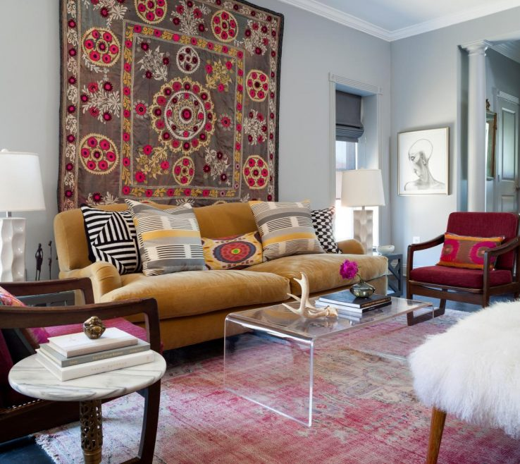 Beautiful Living Room Tapestry Of Colorful Eclectic With Floral Wall Tapestry Mustard