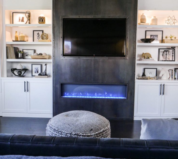 Bedroom Built Ins Of Custom White With Modern Raw Steel Fireplace