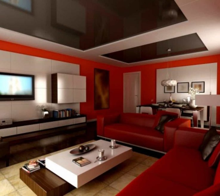 Best Living Room Of Modern Red Paint Ideas With Mirrored Glass