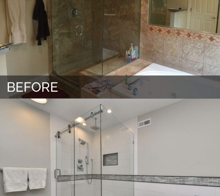 Brilliant Bathroom Before And After Of Master Remodel Hinsdale & Sebring