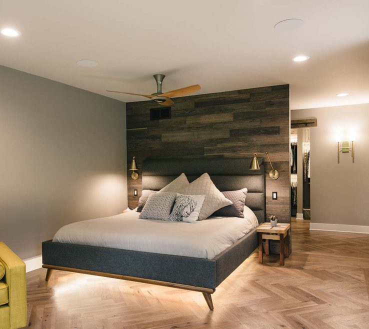 Captivating Contemporary Master Bedroom Of Funky Suite With Barn Board Wall, Lighted