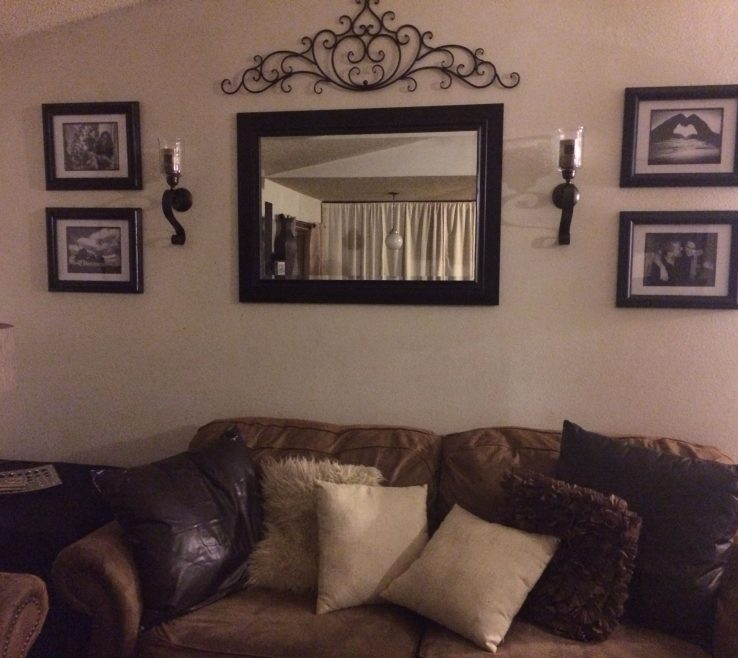 Captivating Living Room Sconces Of Behind Couch Wall In Mirror Frame Sconces