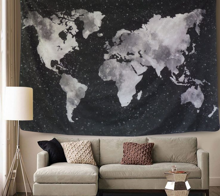 Captivating Living Room Tapestry Of Starry World Map Black Andamp White Abstract