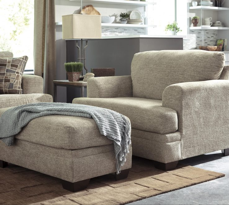 Captivating Living Room With Ottoman Of Benchcraft Barrish Chair And A Half &