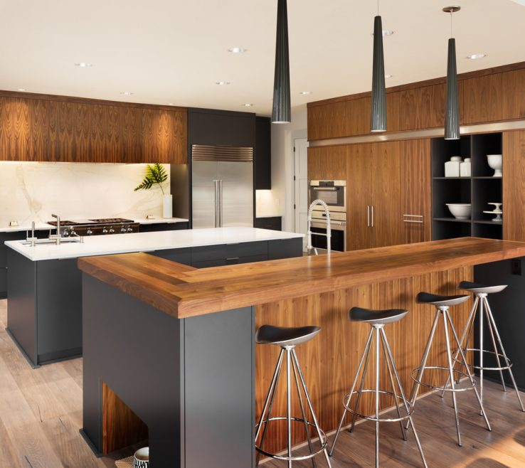 Captivating Modern Style Kitchen Of This Natural Wood And Dark Gray Oozes