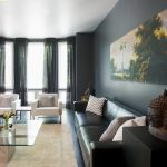 Charming Gray Paint Colors For Living Room Of Modern With Bay Windows And Colorful Art