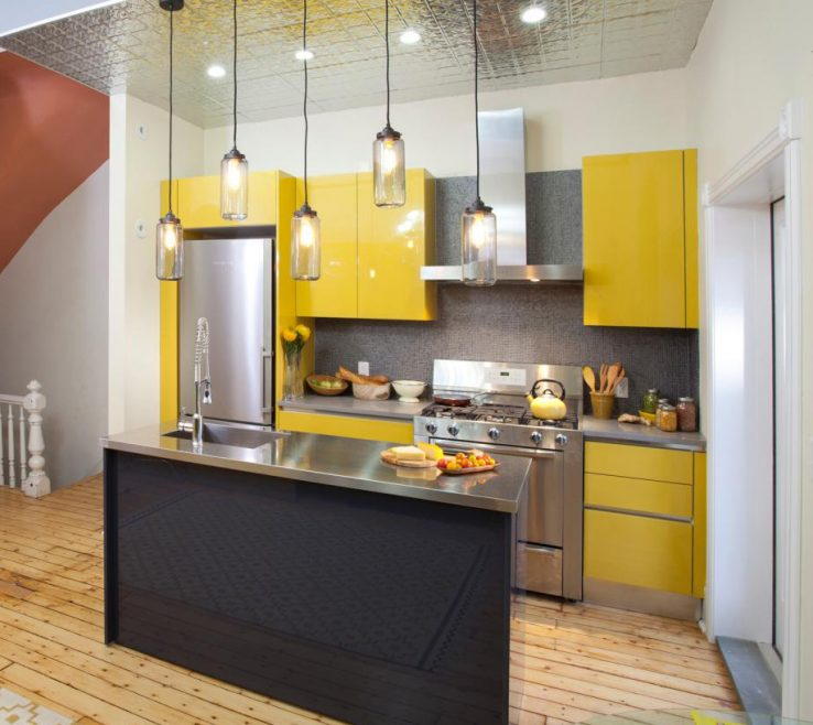 Charming Very Small Kitchen Design Of 11. Bright Yellows And Metallic Surfaces
