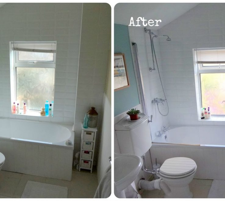 Cool Bathroom Before And After Of Makeover &