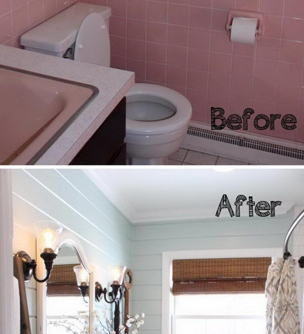 Cool Bathroom Makeovers Before And After Of Blue Planked Walls Aith Crisp White Trim
