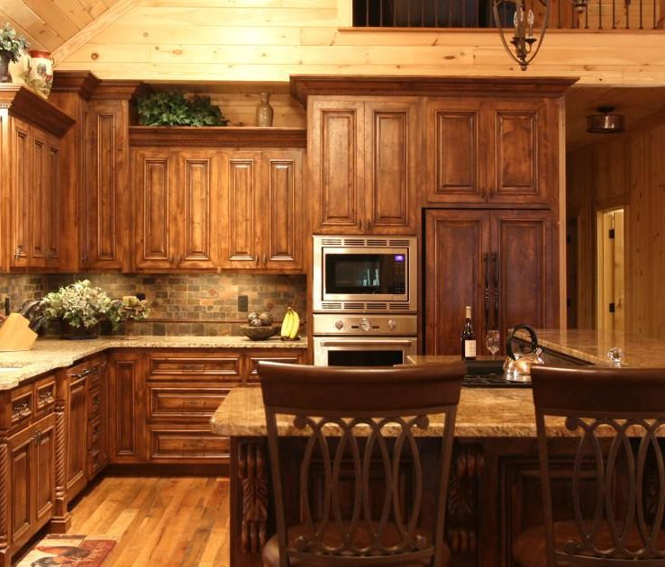 Cool Rustic Style Kitchen Of Home, Alder Wood,bar Stool, Covered Superbliances,rustic