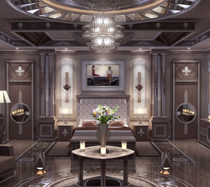 Elegant Art Deco Bedroom Of High End Interior Design Master