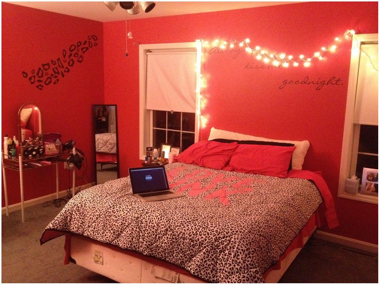 Elegant Red Bedroom Walls Of Amazing Cheetah Print And Video