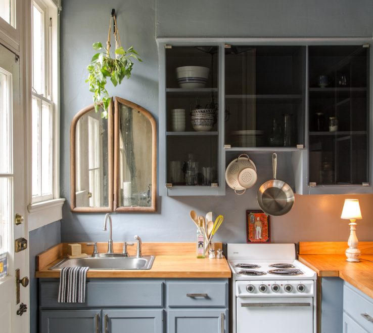 Elegant Tiny Kitchen Design Of 1. Find Serenity With Muted Blues