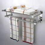 Enchanting Bathroom Towel Storage Wall Mounted Of New Double Chrome Holder Shelf Rack Rall
