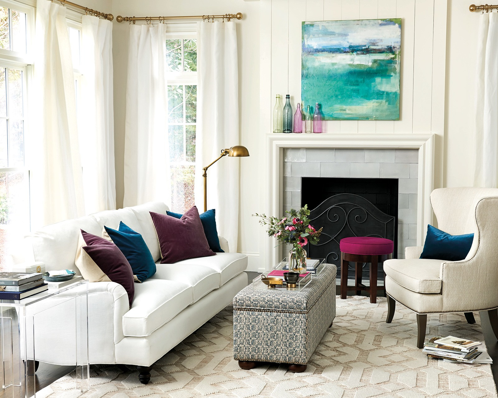 Enchanting Living Room With Ottoman Of Bring In A Leggier Piece Like