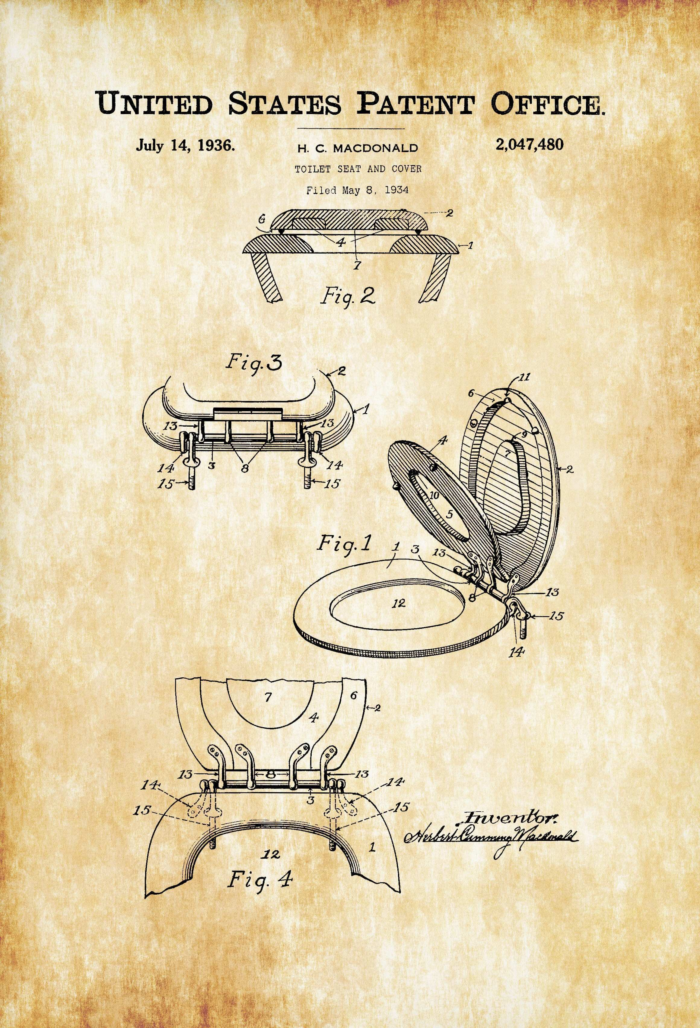 Endearing Bathroom Prints For Wall Of Unique Toilet Seat Patent – Patent Print