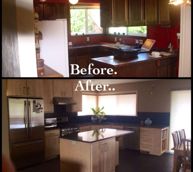 Endearing Before And After Kitchen Remodel Of 1970