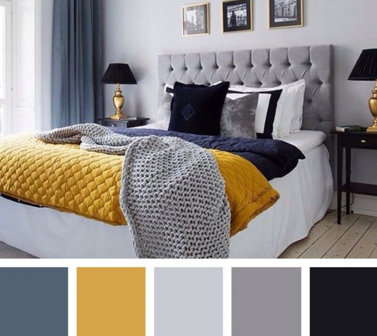 Endearing Gray Color Bedroom Of Warm Winter Navy, And Goldenrod
