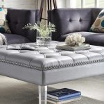 Endearing Living Room With Ottoman Of A Leather Tufted In A