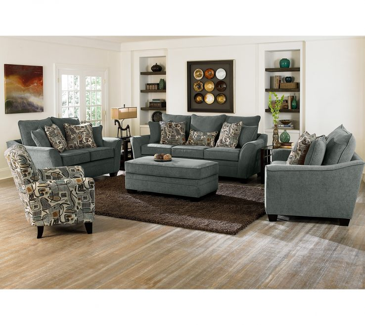 Endearing Living Room With Ottoman Of Grey Sofa And Chairs Ottomans