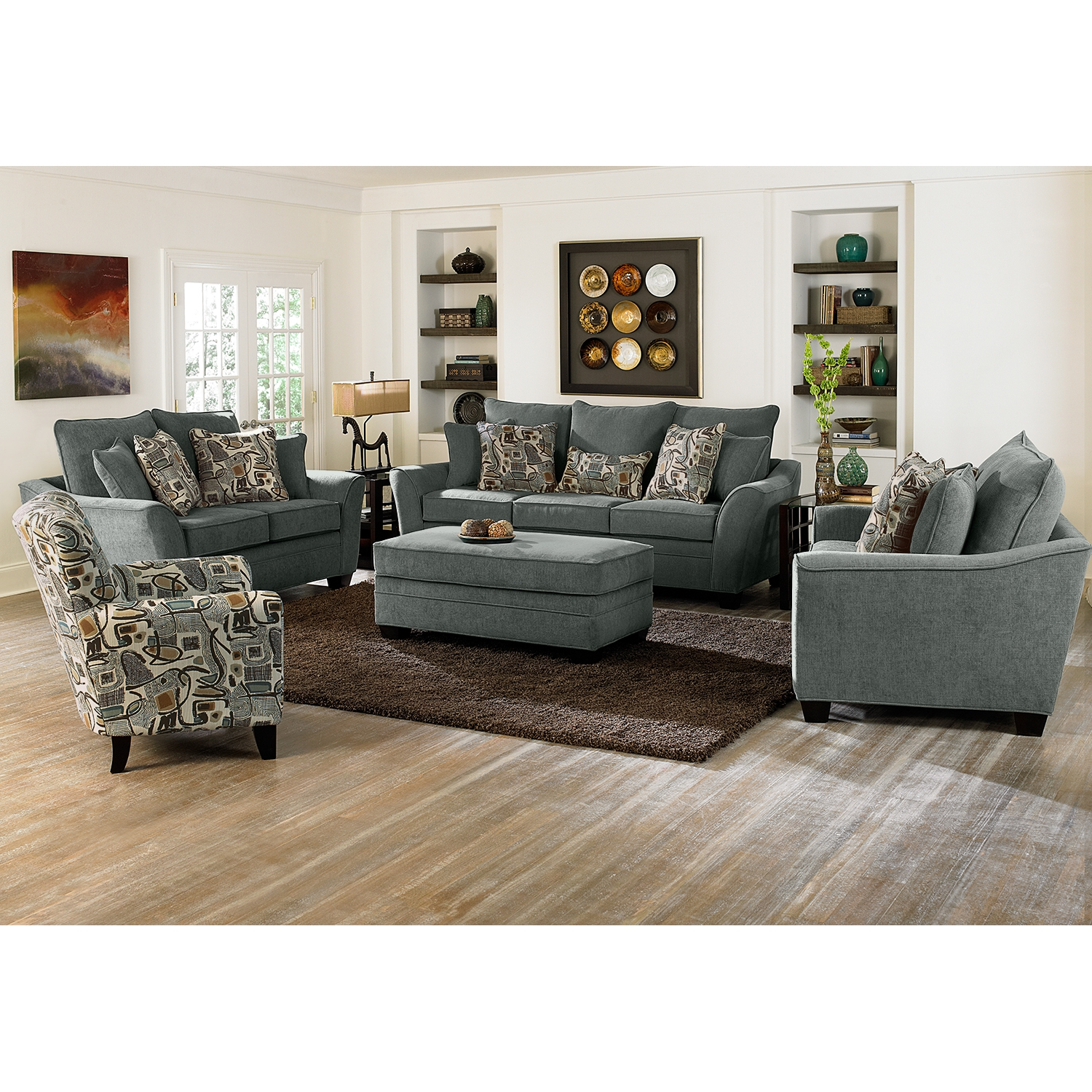 Endearing Living Room With Ottoman Of Grey Sofa And Chairs Ottomans For
