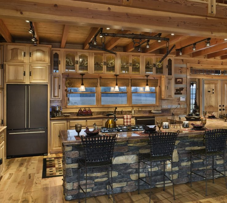 Endearing Rustic Style Kitchen Of Log Cabin Kitchens With Modern And