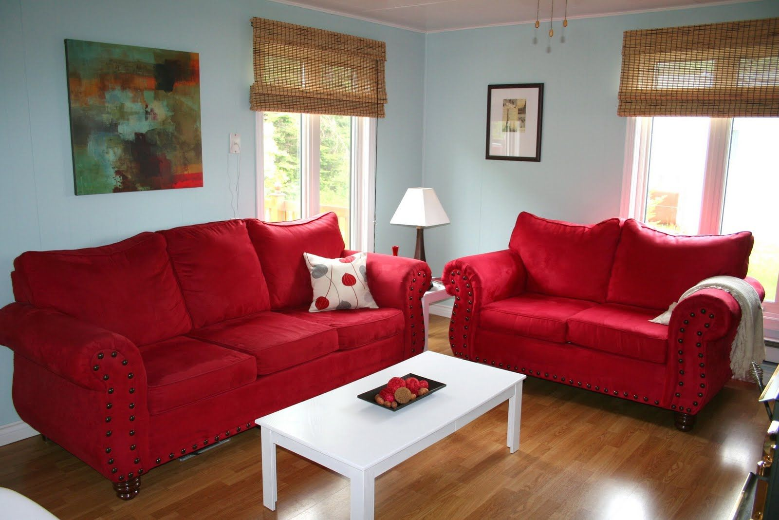 Enthralling Light Blue Walls Living Room Of Rooms With Red Couch ...