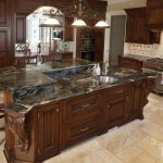 Entrancing Black Marble Kitchen S Of Cosmic Granite With A Multi Layer Island